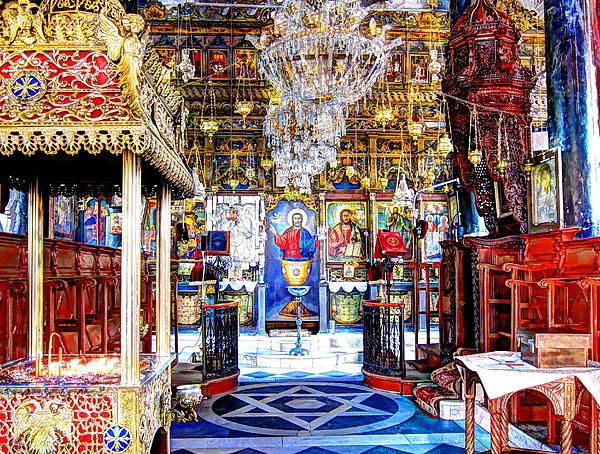 The magnificent and unique interior of the orthodox church on the rock of Petra, a small village on Lesvos Island, Greece. A famous place of pilgrimage. © Andreas Thust