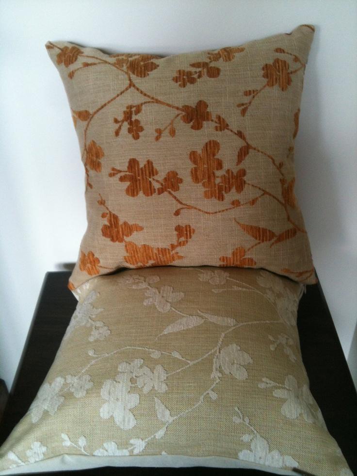 Ikebana Flower Designer  Upholstery Fabric  by Wortley, cream or orange blossom. $38.00, via Etsy.