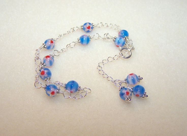 Blue Anklets for Women Murano Glass Jewelry Silver Chain Ankle Bracelet Gift Ideas for Her Flower Design Body Jewlery Foot Jewelry Canada (38.00 USD) by BikerBlingCa