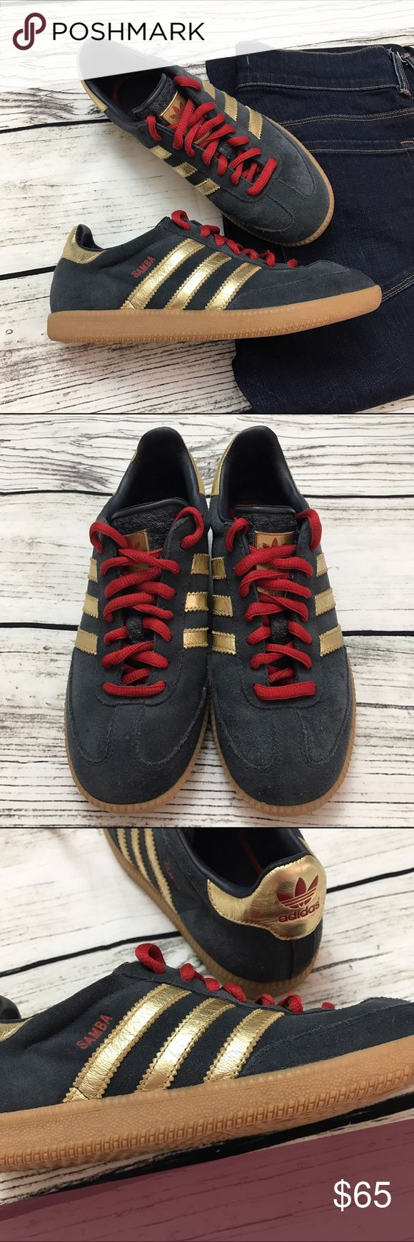 ADIDAS Samba Suede Sneakers Blue Red Gold ADIDAS Samba Suede Sneakers Blue Red Gold labeled a size 6 Big Kids which is the EQUIVALENT of a size 8 women's. Excellent condition, only worn a handful of times. Navy blue suede, red laces and Metallic Gold detailing. Hard to find and really unique! Shoes Athletic Shoes