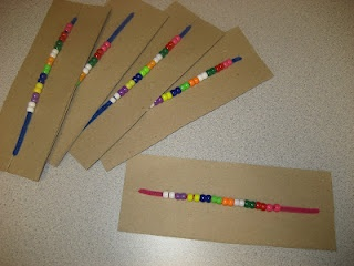 counting in 2s - use small peices of drinking straws in different colours - cheaper than the beads!