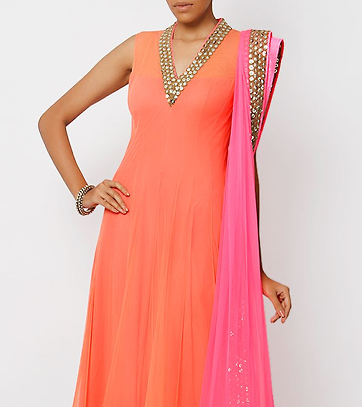 Coral Net Anarkali with Cutwork Border http://www.getaheadofthegames.com/best-escape-games