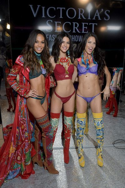 Adriana Lima Photos Photos - (L-R) Joan Smalls, Kendall Jenner and Adriana Lima pose backstage during the Victoria's Secret Fashion Show on November 30, 2016 in Paris, France. - 2016 Victoria's Secret Fashion Show in Paris - Backstage