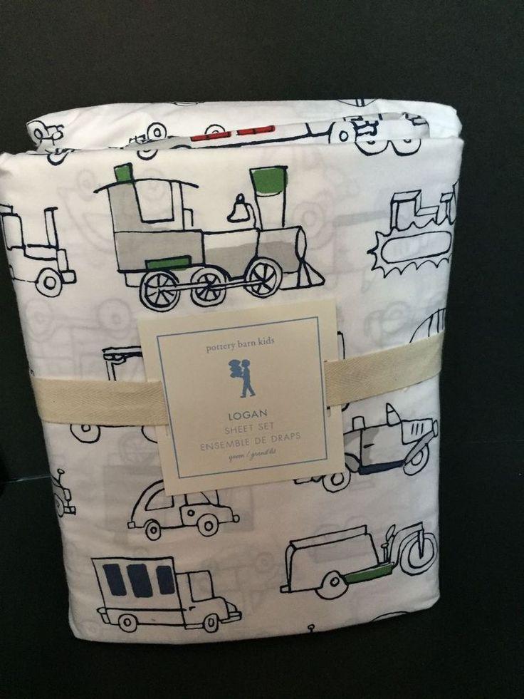 Pottery Barn Kids LOGAN Queen Sheet Transportation Car Plane Truck Bedroom Bed  #PotteryBarnKids #Patterned