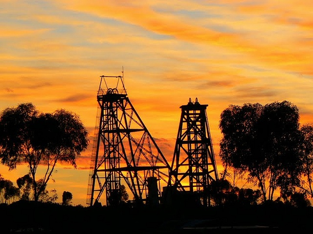 Gold sky and gold mines in the Outback, Photo courtesy of Dr. Kathryn Starkey.