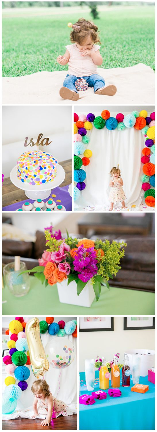 """Seriously, """"confetti"""" may as well just be called """"rainbow paper fun"""". Throw your baby an epicly fun DIY first birthday party at home with a colorful confetti-filled party theme. With pop-up paper decorations, a sprinkle-covered homemade smash cake, and, of course, tons of confetti, you'll throw the best bash that a baby has ever seen!"""