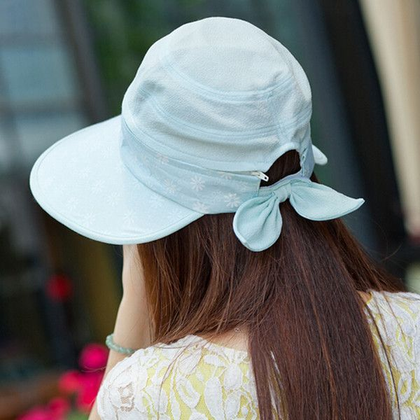 Summer visor hat flower pattern removable sun protection hats riding wear