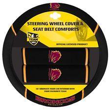 84037 BRISBANE BRONCOS NRL CAR STEERING WHEEL COVER & SEAT BELT COMFORTS PADS