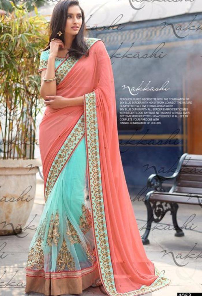 Green Georgette Designer Saree 4053
