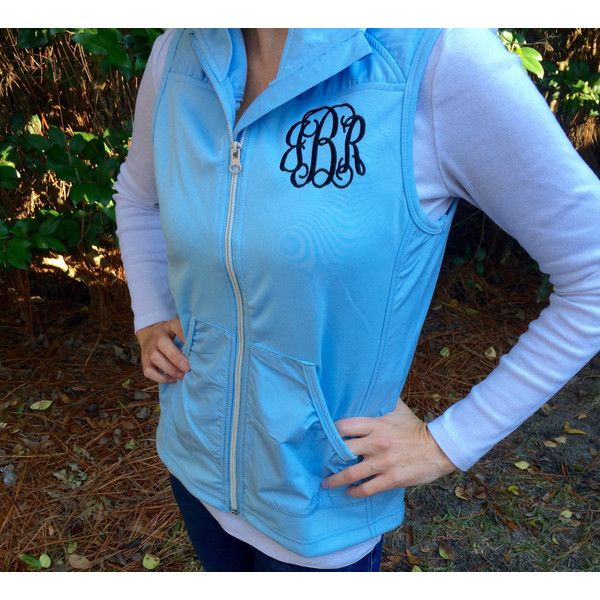 Monogram Vest Charles River Apparel Monogrammed Vest Monogrammed Gifts... ($40) ❤ liked on Polyvore featuring grey, tops, vests and women's clothing
