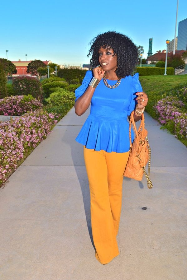 PeplumPeplum Blouses, Fashion Ideas, High Waist Jeans, Dresses Pants, Fashion Blog, Colors Block, Bright Style, Bold Colors, Bright Colors