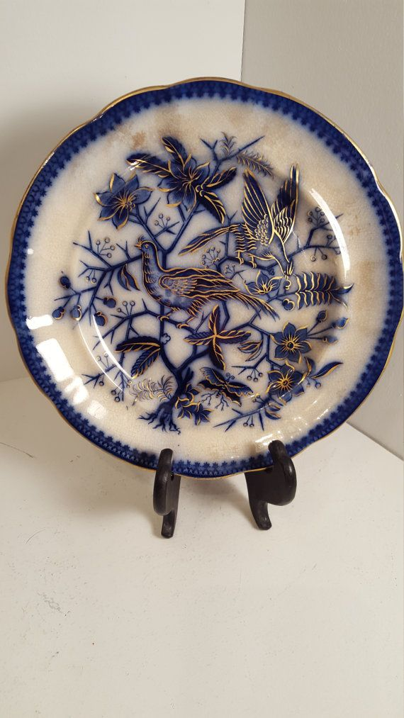 Rare antique hand applied gold gilding Fasan Villeroy and Boch flow blue plate; 1850's; birds and butterfly