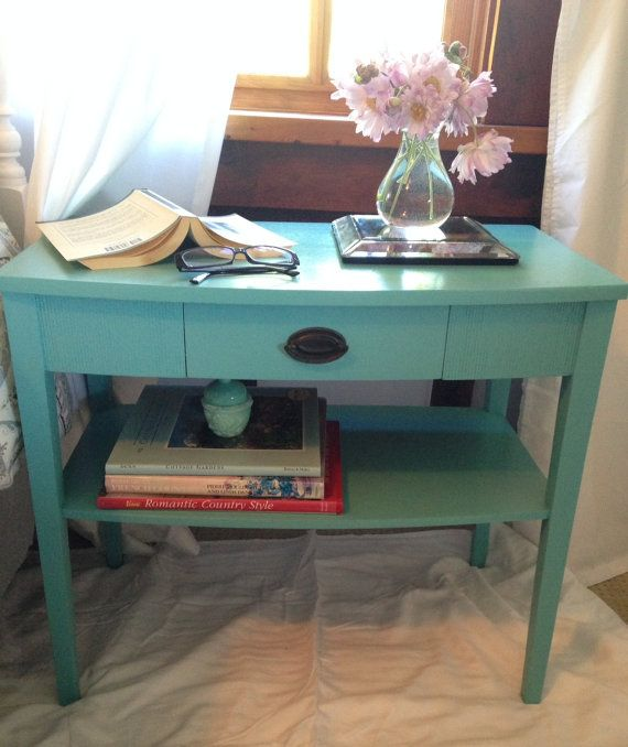 Turquoise nightstand or occasional table with shelf and drawer.  Sorry no shipping
