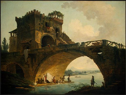 Hubert Robert - The Old Bridge