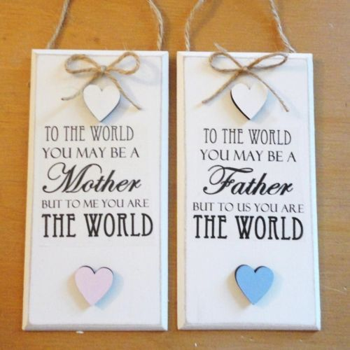 FATHER MOTHER DAY PLAQUE Shabby Chic Plaque DAD MUM Plaque Hearts SIGN 15X7.5CM | eBay