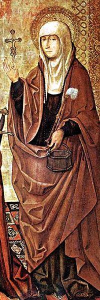 sv. Marta iz Betanije (Jeruzalem) - posuda sa svetom vodom, aspergilum (štap za prskanje vode) i križ, ponekad čudovište (demon); sestra Mariji Magladeni