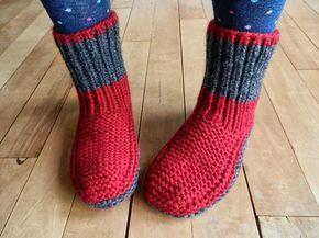 Le modèle des chaussons bien chauds à mettre à tous les pieds ! ~ Balaine   Laine online discount   Modeles gratuits