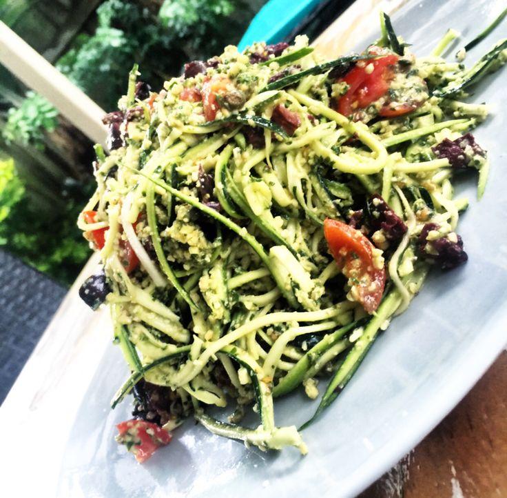 Basil Pesto Raw Zucchini Pasta