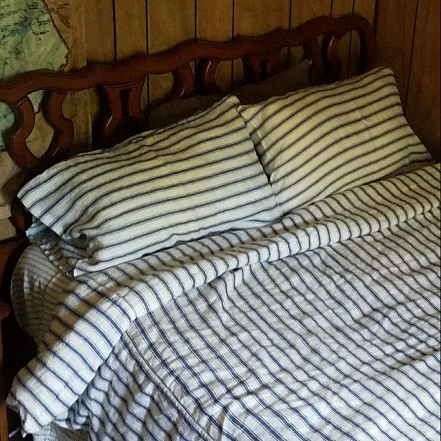 French Navy Ticking Heavyweight Linen Pillowcase Vintage Classic