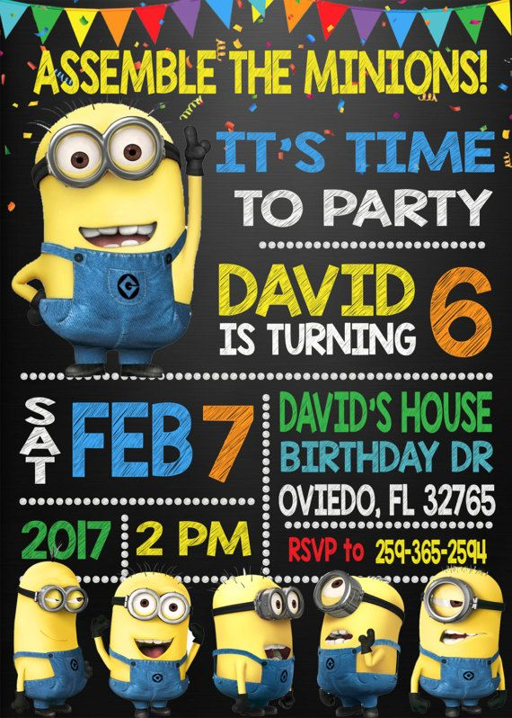 Minion Invitation Minion Birthday Invitation by DigitalPartyInc