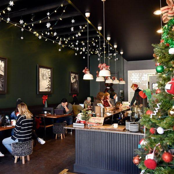 Fiction Coffee Becomes A Christmas Themed Coffee Shop Deck The Hall Street Until Dec 31 Menu Additions Falala L Coffee Shop Decor Cafe Decor Christmas Deco