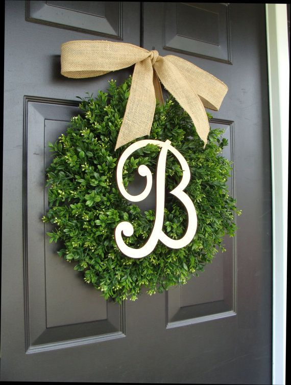 Monogram Boxwood Wreath Fall Monogram Wreath with by ElegantWreath
