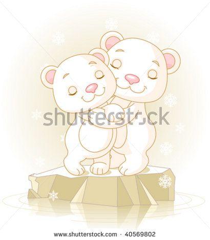Couple of cute  Polar Bears Hugging on the ice floe