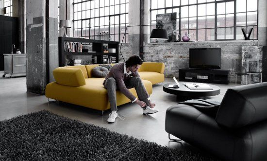 Contemporary urban living room with furniture from one of my favorite