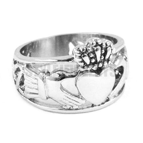 送料無料!クラ手に保持ハートクラウンリングステンレス鋼ジュエリーケルトノット女性バイカー指輪SWR0308A