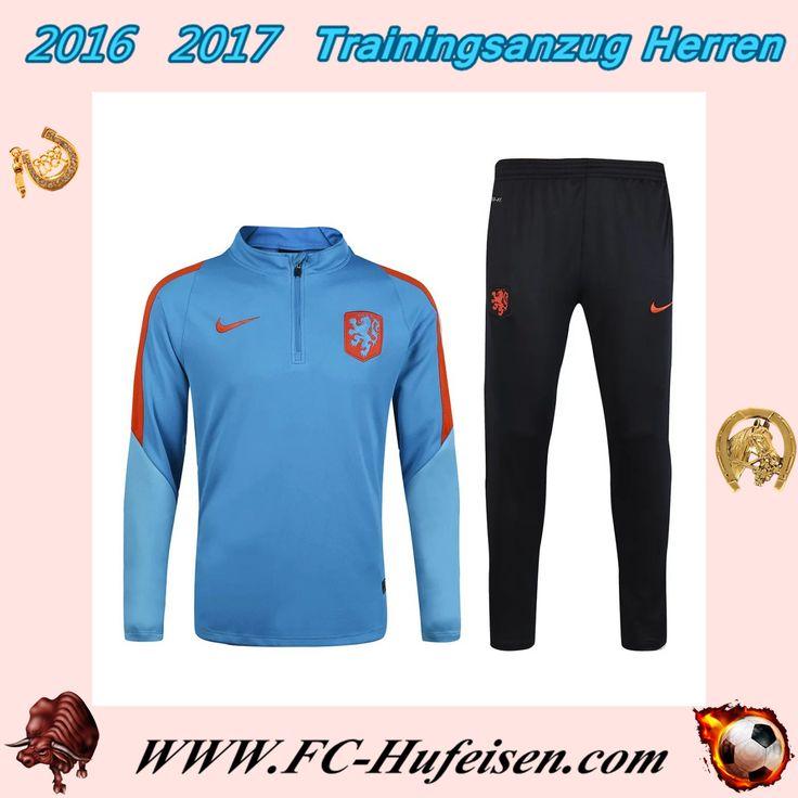 Billige Trainingsanzüge Fussball Herren Kits Netherlands Blau Saison 2016 2017 Günstig Shop Online