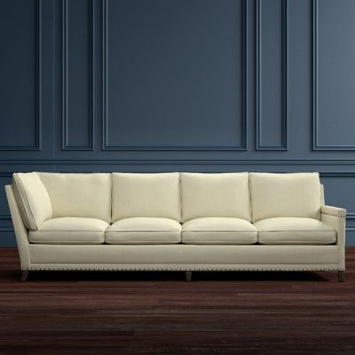 Addison Four Cushion Corner Sofa with Down Blend, Right, Two Tone Oxford, Solid, Natural