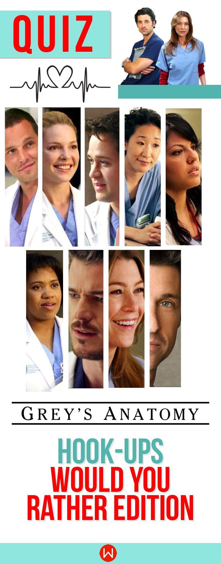 Grey's Anatomy Quiz: Would you rather...Hook-up edition! The toughest choice you'll have to make! Grey's Quiz, GA Trivia, GA Quiz, Meredith Grey, Shonda Rhimes, Shondaland, Grey's Anatomy Test, Buzzfeed Quizzes, Playbuzz Quiz