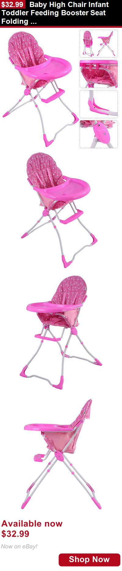 Baby High Chairs: Baby High Chair Infant Toddler Feeding Booster Seat Folding Safety Portable Pink BUY IT NOW ONLY: $32.99