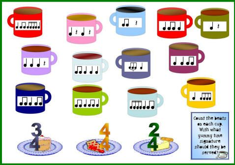 Winter music bulletin board idea with mugs