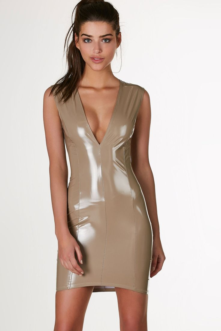 Plunging sleeveless mini dress with sexy latex finish. Bodycon fit with hidden back zip closure.