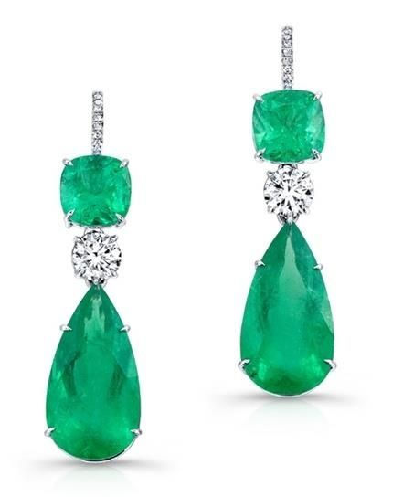 Emerald & Diamond Drops   Earrings   Diamonds   Emeralds   Jewelry   Fashion   Style   Luxe   Eiseman Jewels   Eiseman Bridal