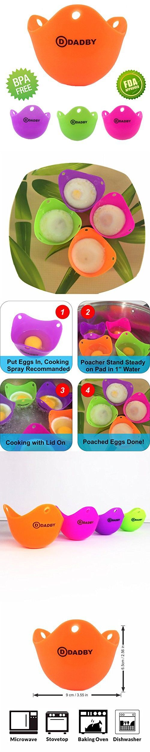 Egg Poacher - Premium Silicone Egg Poacher Cups by DADBY - BPA Free, FDA Approved - Set of 4 Colorful - For Microwave or Stovetop Egg Cooking - Dishwasher Safe - Poach Pods Kitchen Cookware