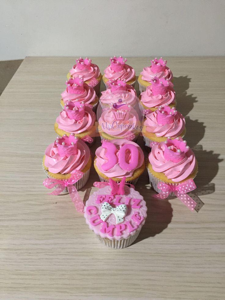 Cupcakes rosados. Cupcakes coronas