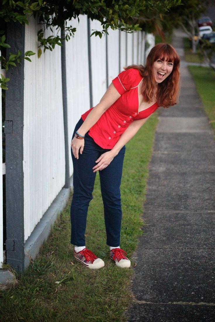 Kitten D'Amour Top and Cardigan paired with Gorman straight leg pants and Irregular Choice flats. See more on waytofash.com #ilovekitten #irregularchoice #gorman #kittendamour #waytofash #red