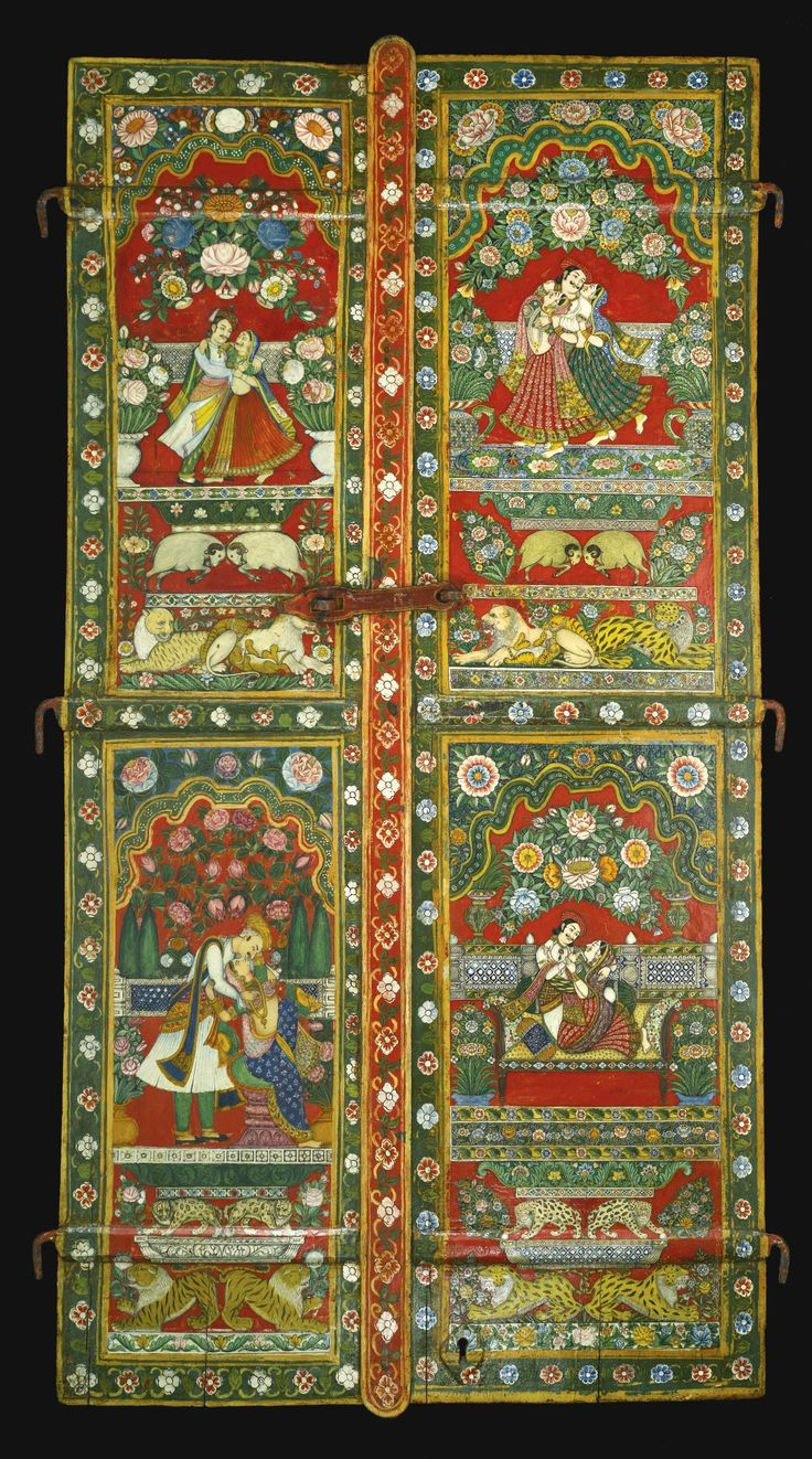 A FINE PAIR OF PAINTED WOODEN WINDOW SHUTTERS, NORTH WEST INDIA, KUTCH, GUJARAT, LAST QUARTER OF THE 19TH CENTURY