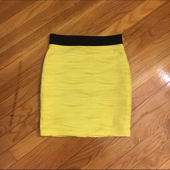 Neon Yellow Skirt  Bandage skirt.  Cute for clubs! Excellent condition. Extremely flattering. Forever 21 Skirts