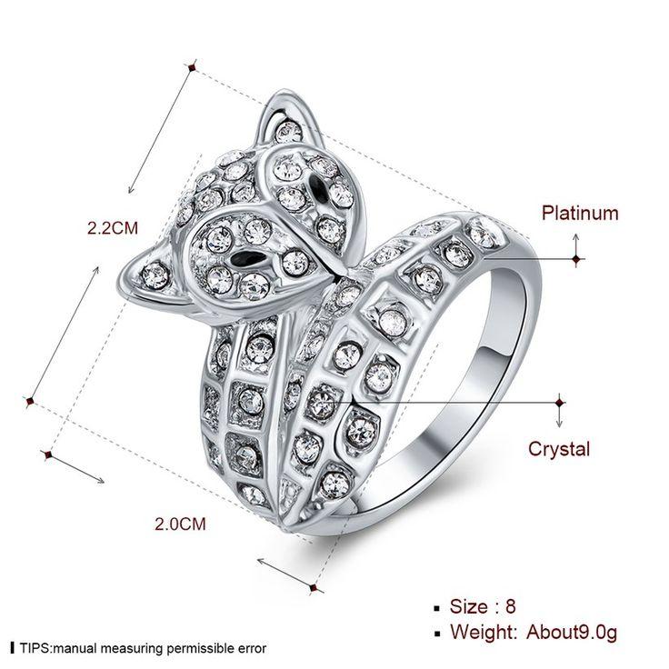 Классическое платиновое кольцо белого Rhinestone для женщин GPR1397 0