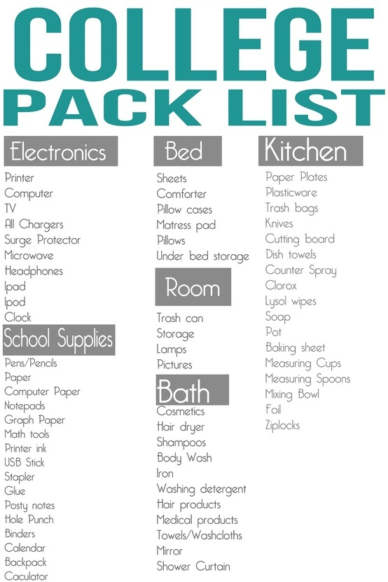college pack list good school supplies list college. Black Bedroom Furniture Sets. Home Design Ideas