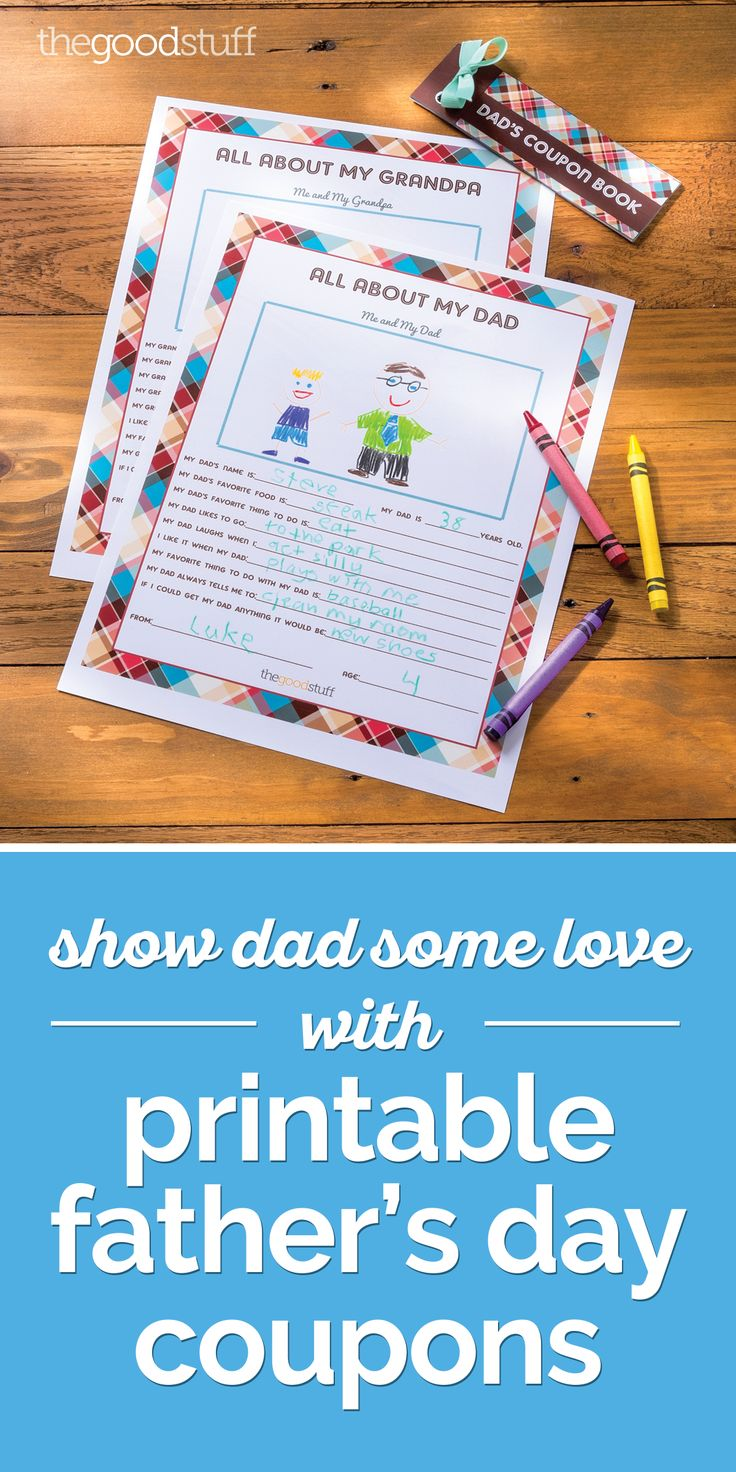 father's day coupon book cover