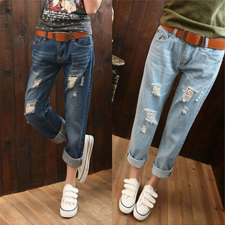 13.96$  Buy here - 26-34 Plus Size Casual Loose Straight Ripped Women Jeans 2017 New Summer BF Cowboy Denim Pants american apparel jean mujer  #aliexpress