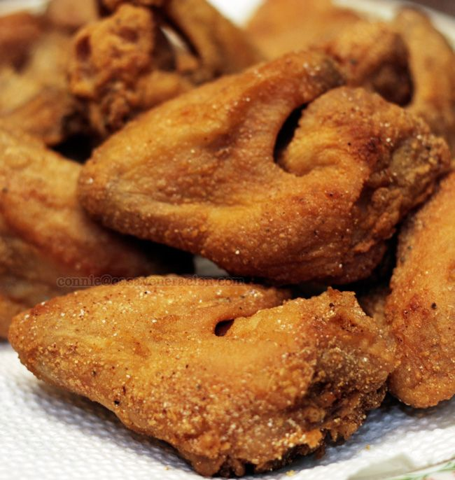 Southern style fried chicken that remains crispy, does not get soggy. The secret??? Cornmeal added to the flour mixture! You would never guess that ingredient but it makes all the difference in the world! Perfect for buffalo wings when crisp crust must stand up to the buffalo sauce. Forty years ago when I lived on The Hill, a very Italian neighborhood in St Louis, a little restaurant with a tiny Italian grandma as the cook told me the secret, but would not share how it was done!