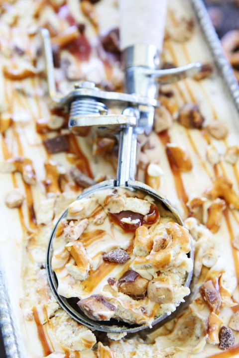 No Churn Salted Caramel Toffee Pretzel Ice Cream Recipe on twopeasandtheirpod.com This is easy no churn ice cream is amazing! A summer MUST make!