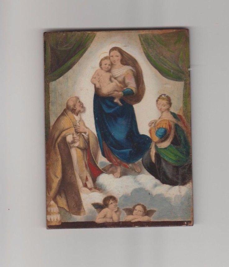 Antique 1888 Sistine Madonna Icon-Tempera on Wood Panel + Plaster Cherub+ Plaque