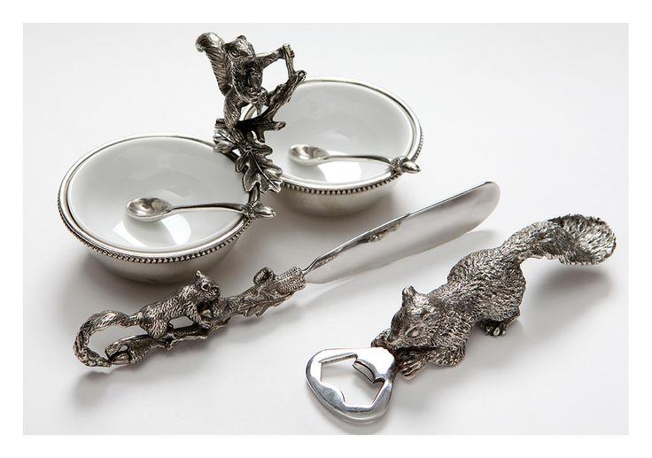 Коллекция посуды из олова фабрики SAINT LAMBERT. Розетка для варенья с ложками «Бельчонок», открывашка для бутылок и десертный нож «Бельчонок». #table #settings #ideas #decoration #tableware #design #luxury #accessories #dinnerware #set #party #dining #room #glass #home #decor #romantic #pretty #bohemian #inspiration #decorating #wedding #gift #tin #classic #посуда #стекло #металл #декор #столовая #сервировка #праздничная #красивая #классическая #роскошная #люкс #приборы