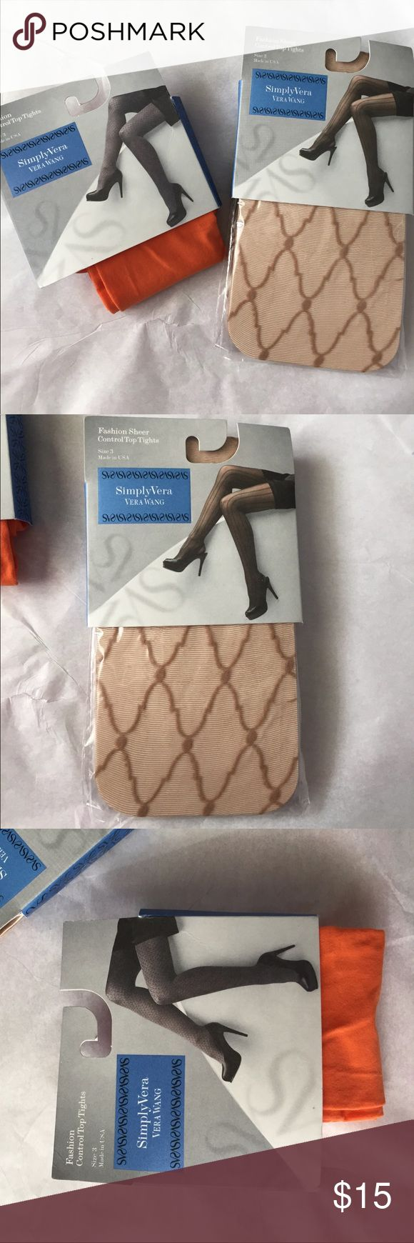 Simply Vera Wang Plus size control top tights! NWT 2 pairs of Simply Vera Vera Wang Fashion Control Top tights! 2 together! One pIr is sheer with a diamond design the other is a opaque orange color! Both new! Size 3  height 5'2-6'0 weight 165-200 lbs! Simply Vera Vera Wang Accessories Hosiery & Socks
